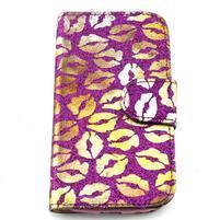 Pusinky peňaženkové puzdro pre Samsung Galaxy S4 Mini - fialové