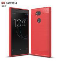 Fibe odolný gélový obal s brúsoním na Sony Xperia L2 - červený