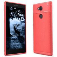 IVS textúrovaný gélový obal so zosilneným obvodom na Sony Xperia L2 - červený