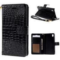 Čierne PU kožené puzdro aligátor pre Sony Xperia M4 Aqua