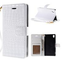 Bílé PU kožené pouzdro aligátor pro Sony Xperia M4 Aqua