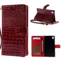 Tmavo červené PU kožené puzdro aligátor pre Sony Xperia M4 Aqua