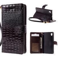 Tmave hnedé PU kožené puzdro aligátor pre Sony Xperia M4 Aqua
