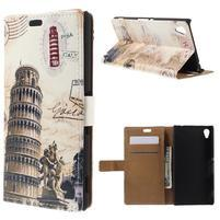 Peňaženkové puzdro pre Sony Xperia M4 Aqua - šikmá veža