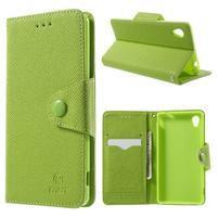 Zelené PU kožené Peňaženkové puzdro pre Sony Xperia M4 Aqua