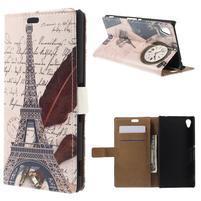 Peňaženkové puzdro pre Sony Xperia M4 Aqua - Eiffelova veža