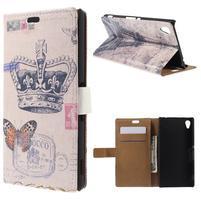 Peňaženkové puzdro pre Sony Xperia M4 Aqua - koruna motýľ
