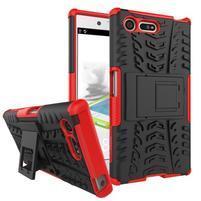 Outdoor odolný obal so stojanom na Sony Xperia X Compact - červený
