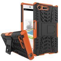 Outdoor odolný obal so stojanom na Sony Xperia X Compact - oranžový