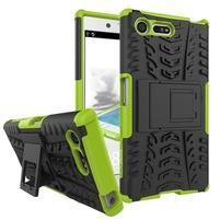 Outdoor odolný obal so stojanom na Sony Xperia X Compact - zelený