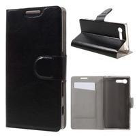 Leathy PU kožené puzdro pre Sony Xperia X Compact - čierne