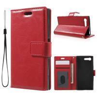 Horse PU kožené puzdro pre mobil Sony Xperia X Compact - červené