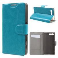 Leathy PU kožené puzdro pre Sony Xperia X Compact - modré