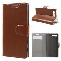 Leathy PU kožené puzdro pre Sony Xperia X Compact - hnedé