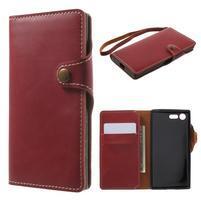 Luxusní peňaženkové PU kožené puzdro pre Sony Xperia X Compact - červené