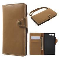 Luxusní peňaženkové PU kožené puzdro pre Sony Xperia X Compact - svetlohnedé