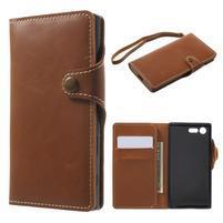Luxusní peňaženkové PU kožené puzdro pre Sony Xperia X Compact - hnedé