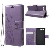 Butterfly PU kožené puzdro pre Sony Xperia X Compact - fialové