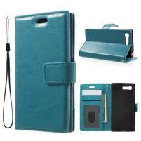 Horse PU kožené puzdro pre mobil Sony Xperia X Compact - modré