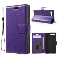 Horse PU kožené puzdro pre mobil Sony Xperia X Compact - fialové