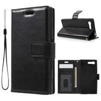 Horse PU kožené puzdro pre mobil Sony Xperia X Compact - čierne