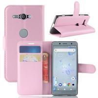 Litchi PU kožené zapínacie puzdro na Sony Xperia XZ2 Compact - ružové