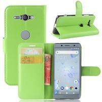 Litchi PU kožené zapínacie puzdro na Sony Xperia XZ2 Compact - zelené