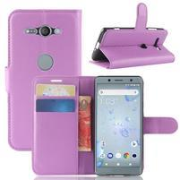 Litchi PU kožené zapínacie puzdro na Sony Xperia XZ2 Compact - fialové