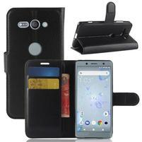 Litchi PU kožené zapínacie puzdro na Sony Xperia XZ2 Compact - čierne