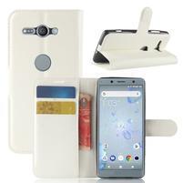 Litchi PU kožené zapínacie puzdro na Sony Xperia XZ2 Compact - biele