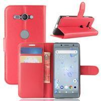 Litchi PU kožené zapínacie puzdro na Sony Xperia XZ2 Compact - červené