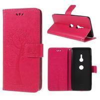 Tree PU kožené peňaženkové puzdro na Sony Xperia XZ3 - rose