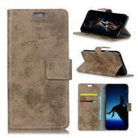 Vintage PU kožené peňaženkové puzdro na mobil Sony Xperia XZ3 - khaki