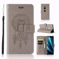 Dream PU kožené peňaženkové puzdro na Sony Xperia XZ3 - sivé