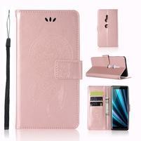 Dream PU kožené peňaženkové puzdro na Sony Xperia XZ3 - rosegold