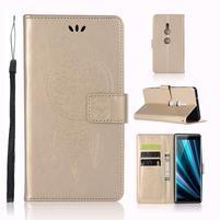 Dream PU kožené peňaženkové puzdro na Sony Xperia XZ3 - zlaté