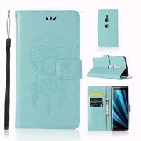 Dream PU kožené peňaženkové puzdro na Sony Xperia XZ3 - cyan