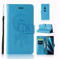 Dream PU kožené peňaženkové puzdro na Sony Xperia XZ3 - modré