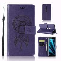 Dream PU kožené peňaženkové puzdro na Sony Xperia XZ3 - fialové