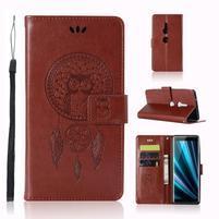 Dream PU kožené peňaženkové puzdro na Sony Xperia XZ3 - hnedé