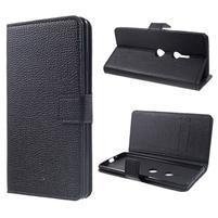 Texture PU kožené peňaženkové puzdro na Sony Xperia XZ3 - čierne