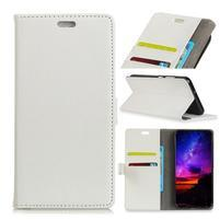 Litch PU kožené flipové puzdro na Sony Xperia XZ3 - biele