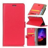 Litch PU kožené flipové puzdro na Sony Xperia XZ3 - červené
