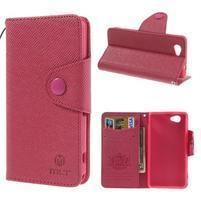 Peněženkové PU kožené pouzdro na Sony Xperia Z1 Compact - rose