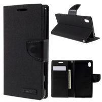 Canvas PU kožené/textilné puzdro pre Sony Xperia Z5 - čierne
