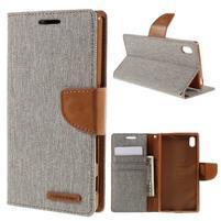Canvas PU kožené/textilné puzdro pre Sony Xperia Z5 - sivé
