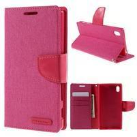Canvas PU kožené/textilné puzdro pre Sony Xperia Z5 - rose