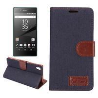 Jeans Peňaženkové puzdro Sony Xperia Z5 - černomodré