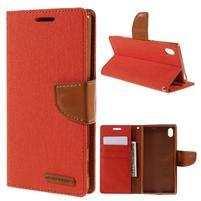 Canvas PU kožené/textilné puzdro pre Sony Xperia Z5 - oranžové