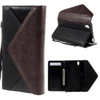 Štýlové Peňaženkové puzdro Sony Xperia Z5 - hnedé/čierne